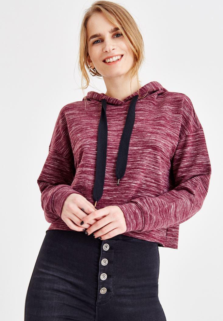 Mor Kapüşonlu Uzun Kollu Sweatshirt