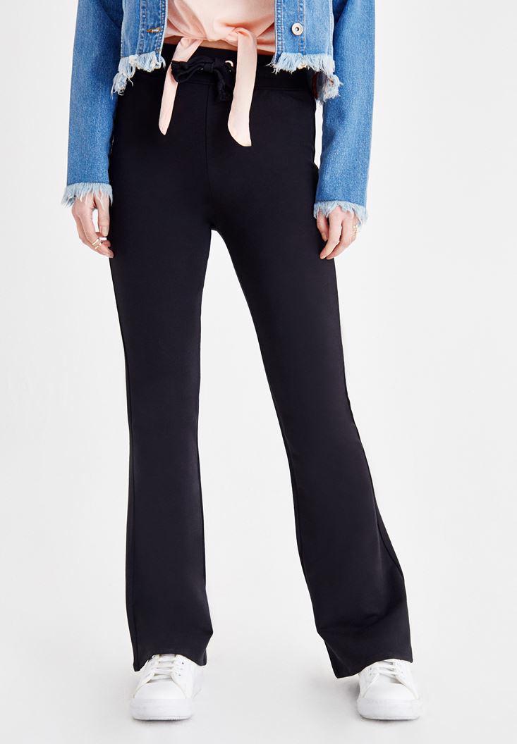 Bayan Siyah Yüksek Bel Flare Pantolon