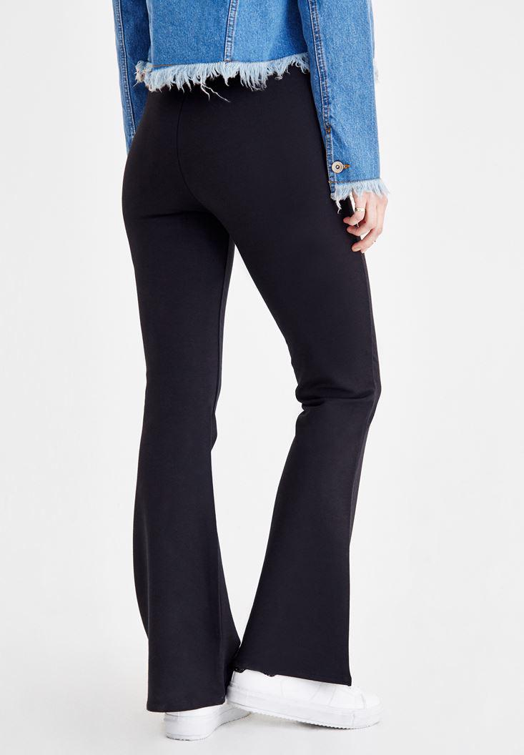 Women Black High Rise Flare Pants
