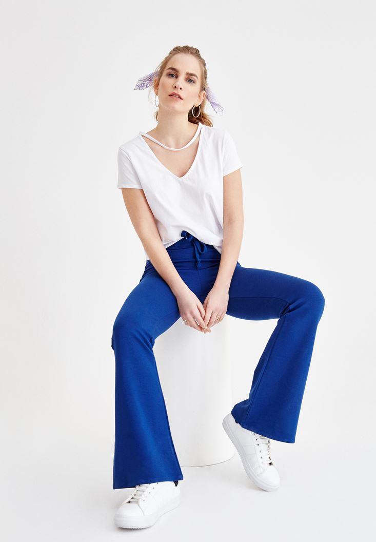 Lacivert Yüksek Bel Flare Pantolon