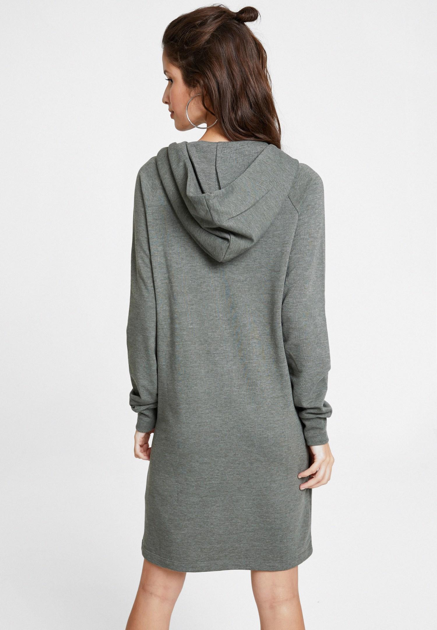 Bayan Yeşil İp Detaylı Kapüşonlu Elbise