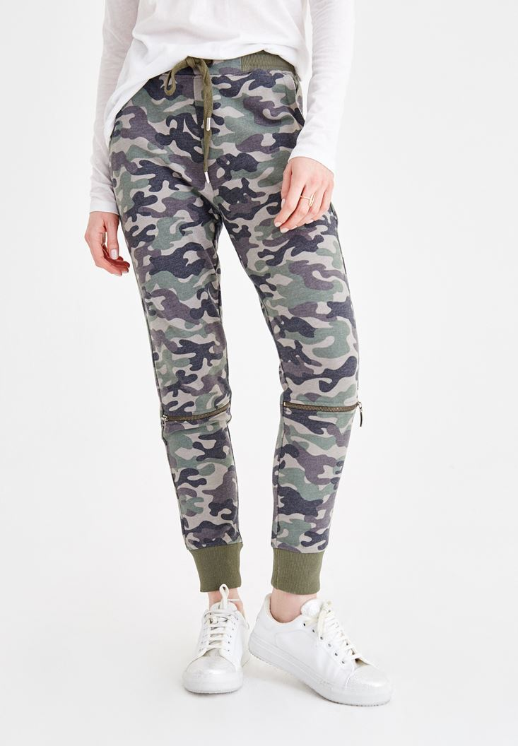Mixed Camouflage Patterned Pants