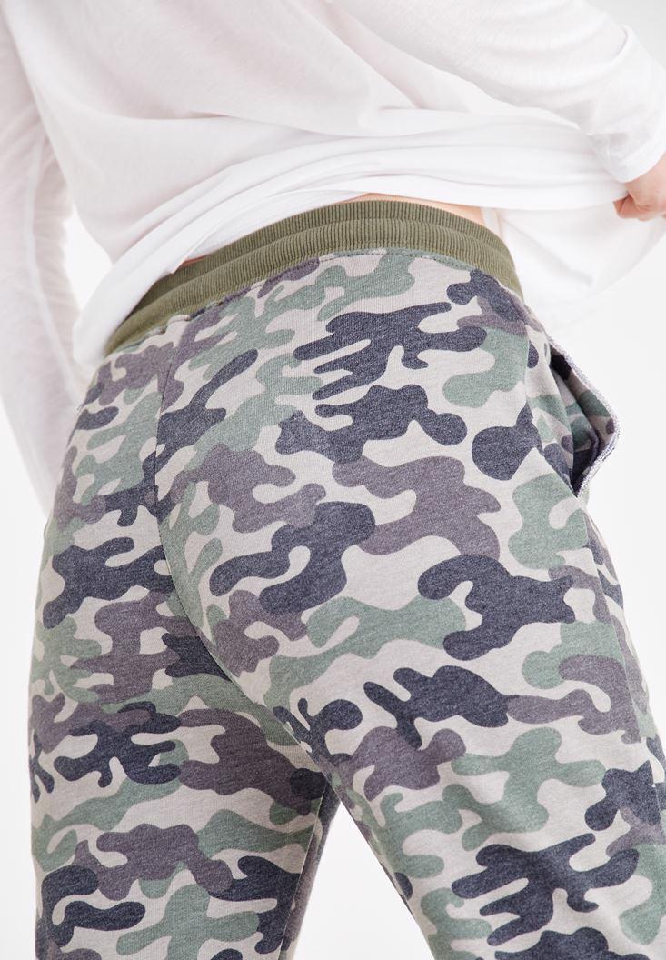 Bayan Çok Renkli Kamuflaj Desenli Jogger Pantolon