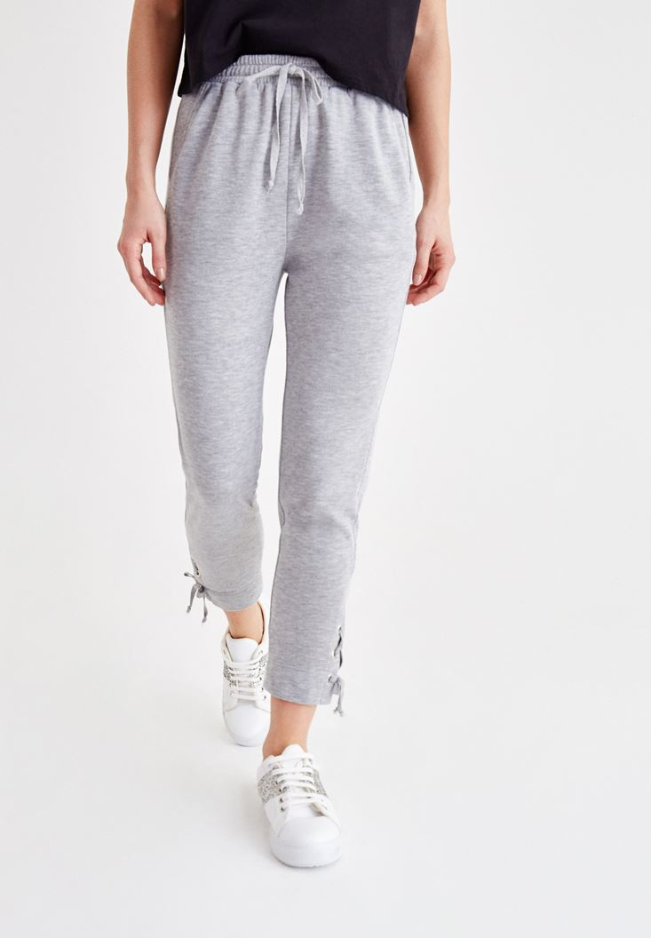 Grey High Rise Jogger with Details
