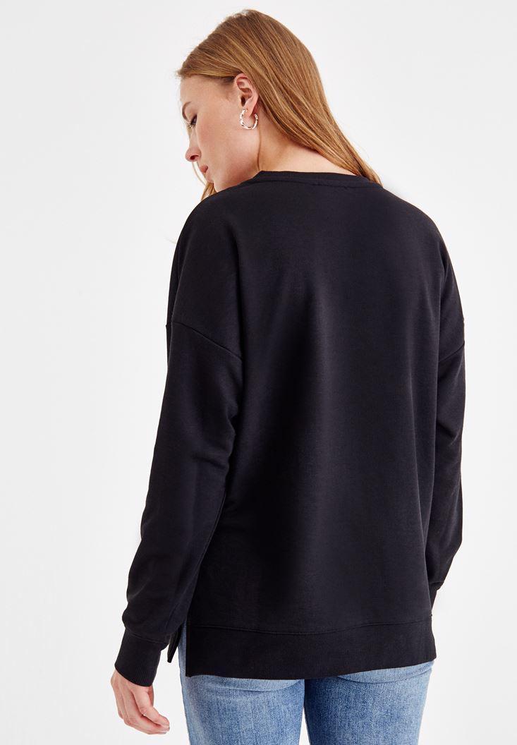 Bayan Siyah Yanları Yırtmaç Detaylı Sweatshirt