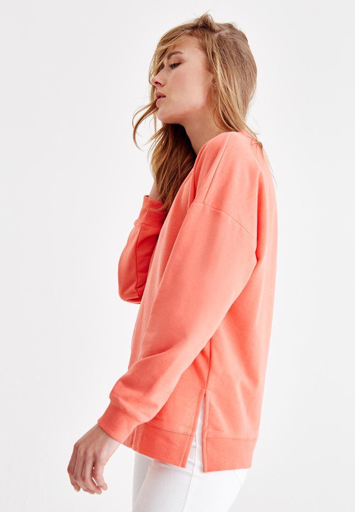 Bayan Kırmızı Yanları Yırtmaç Detaylı Sweatshirt
