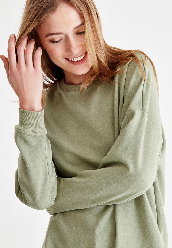 Yeşil Yanları Yırtmaç Detaylı Sweatshirt