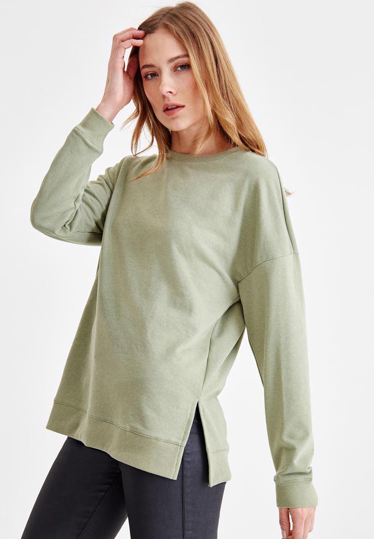 Bayan Yeşil Yanları Yırtmaç Detaylı Sweatshirt