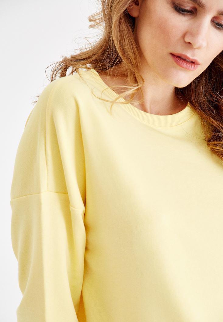 Bayan Sarı Yanları Yırtmaç Detaylı Sweatshirt