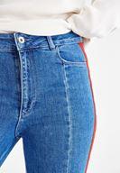 Bayan Mavi Yanı Şeritli Paça Detaylı Denim