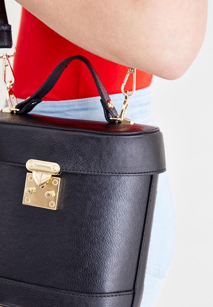 Women Black Box Bag with Seam Detail
