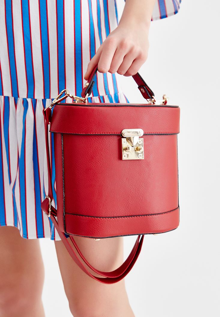 Red Box Bag with Seam Detail