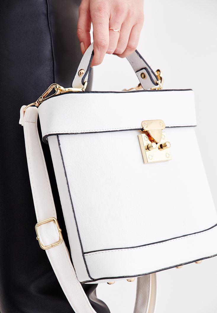 Women White Box Bag with Seam Detail
