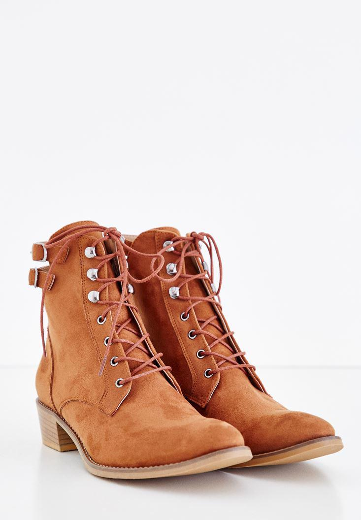 Women Brown Boots with Buckle Details