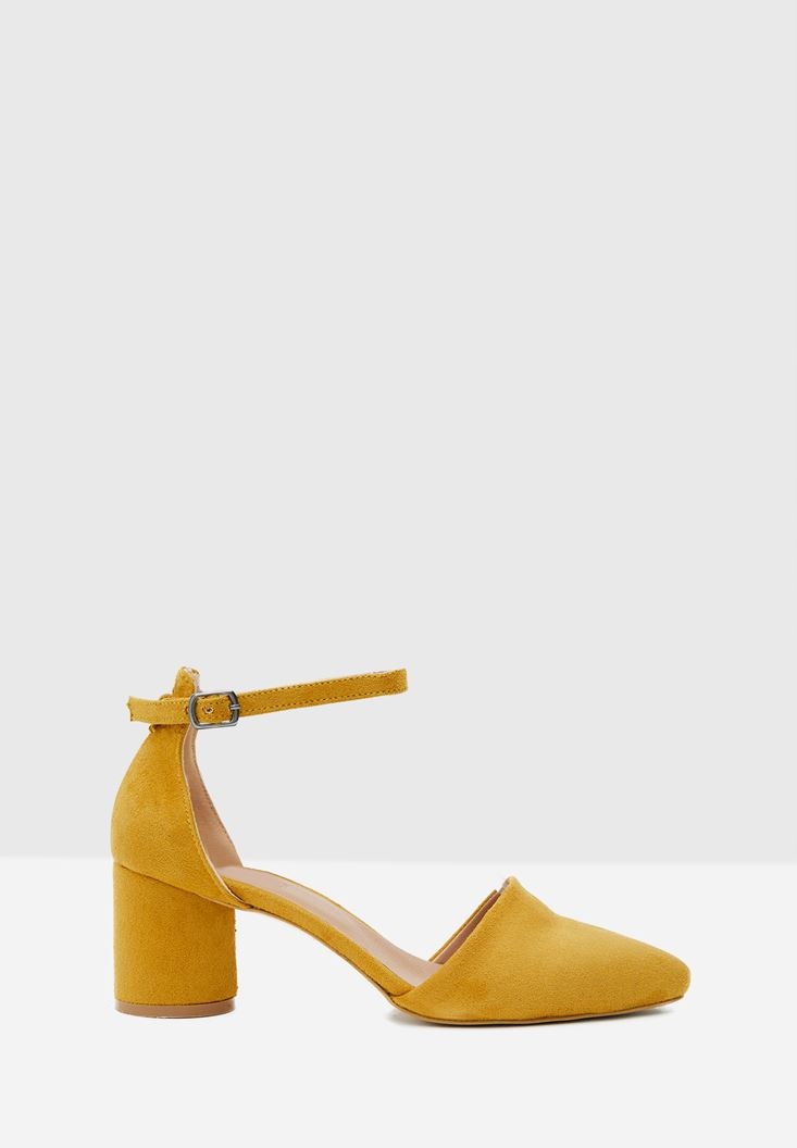 Yellow High Heel Shoes with Buckle Details