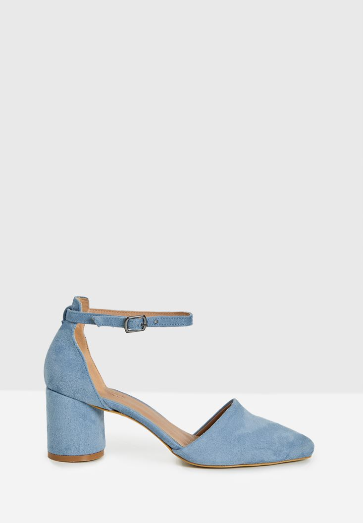 Blue High Heel Shoes with Buckle Details