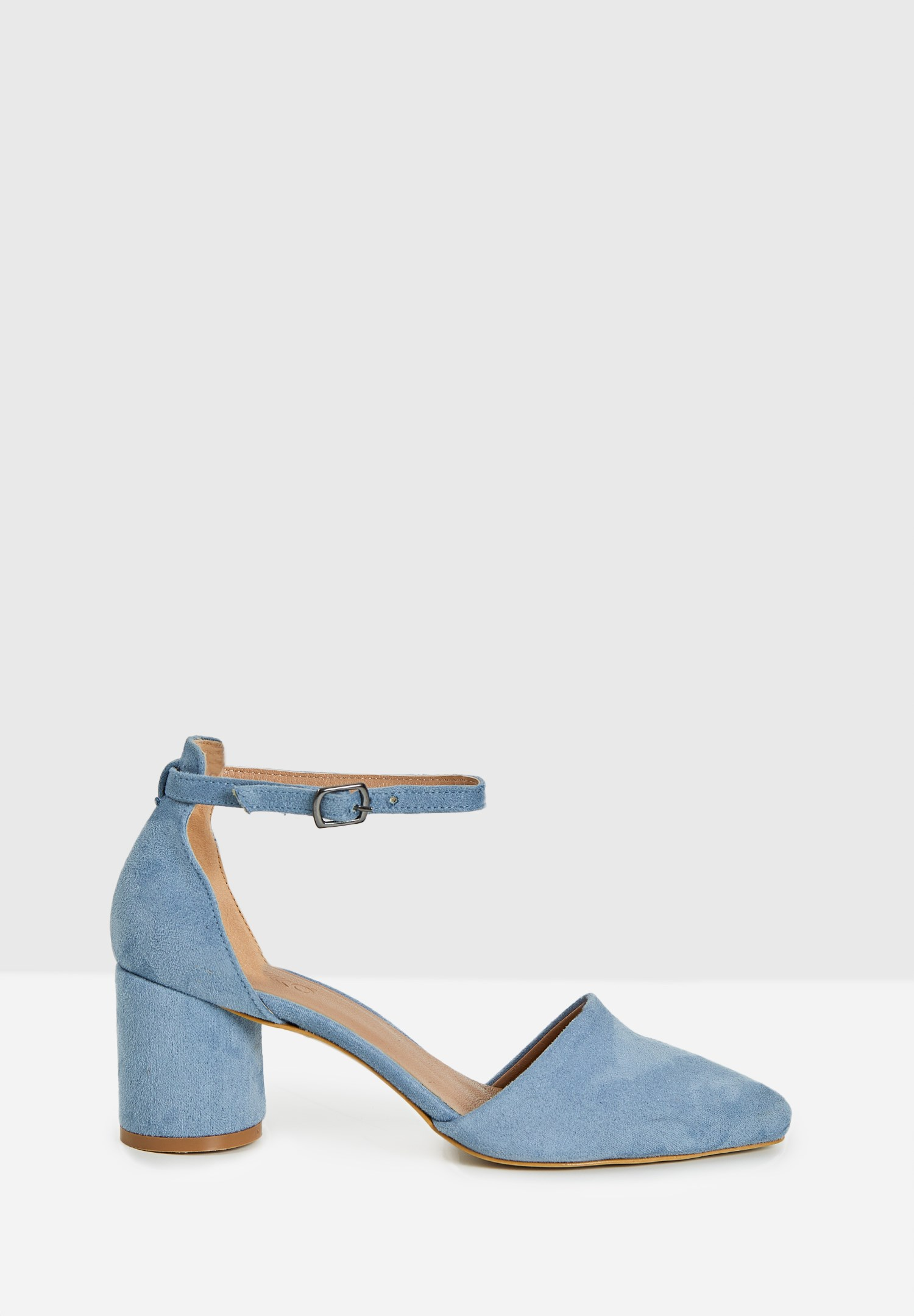 Bayan Mavi Toka Detaylı Yuvarlak Topuklu Ayakkabı