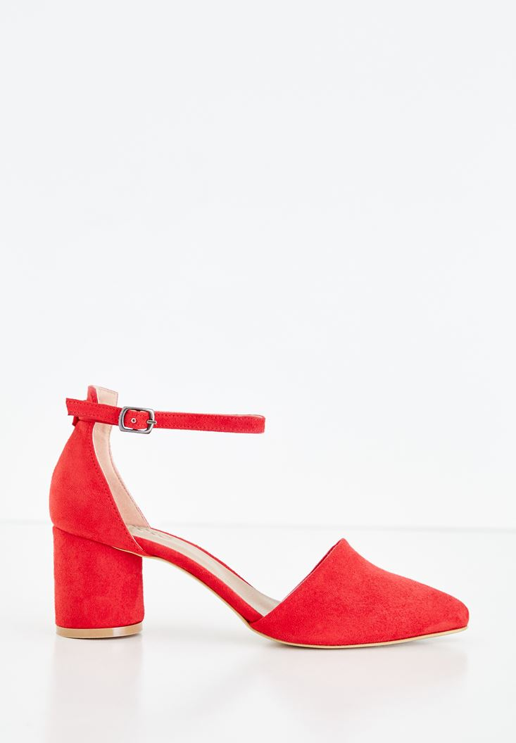 Red High Heel Shoes with Buckle Details