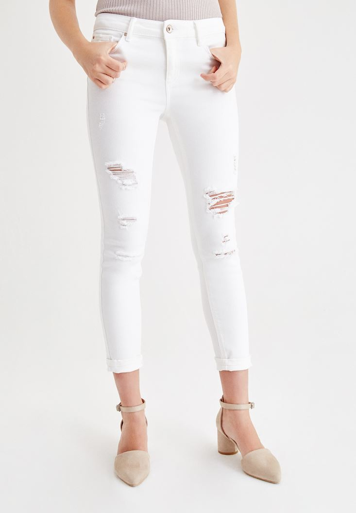 White Low Rise Skinny Pants with Leg Details