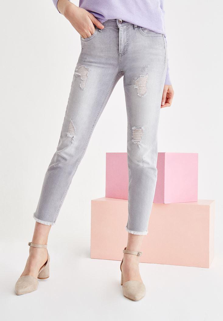 Bayan Gri Orta Bel Cigarette Pantolon