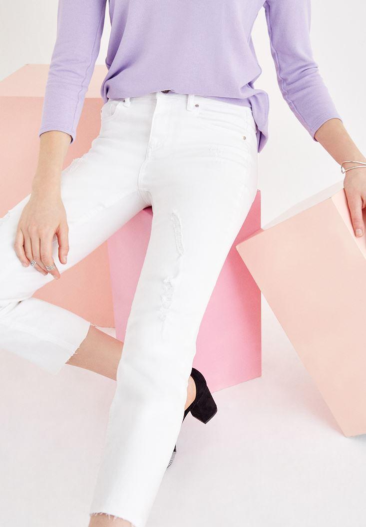 Beyaz Orta Bel Cigarette Pantolon