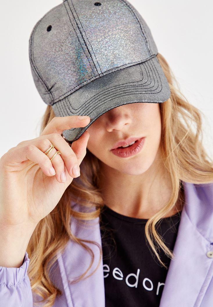 Gri Parlak Detaylı Cap Şapka