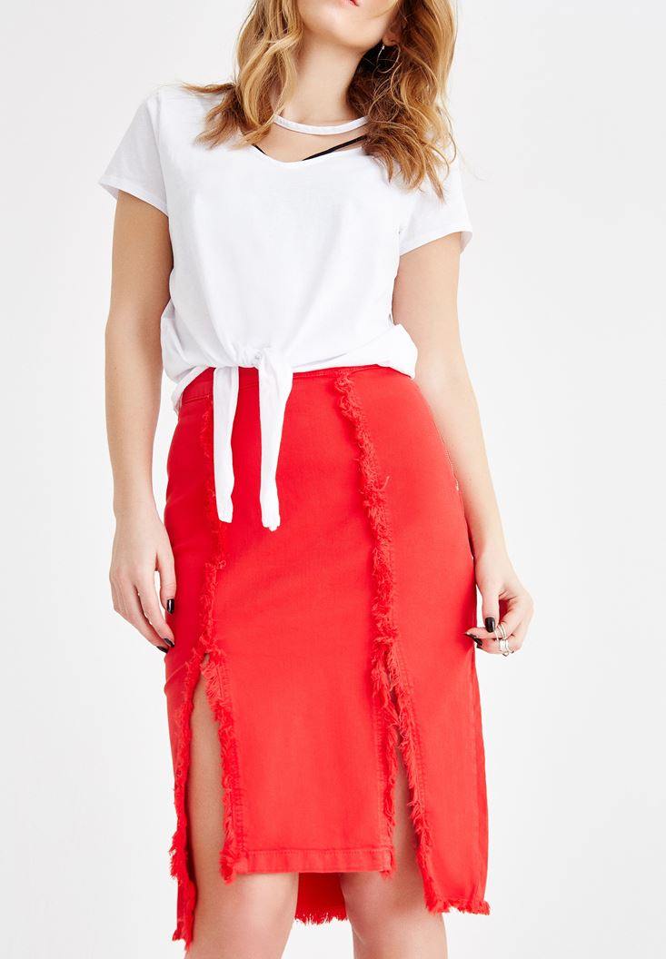 Red Skirt with Slit Details