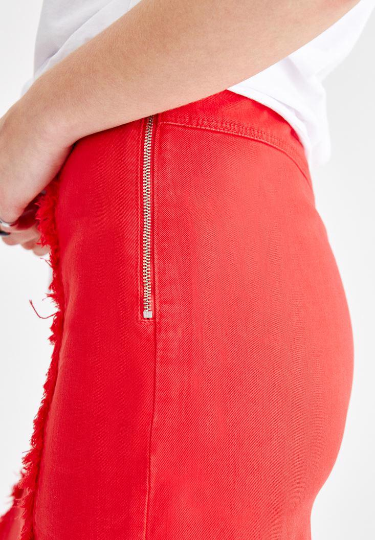 Women Red Skirt with Slit Details