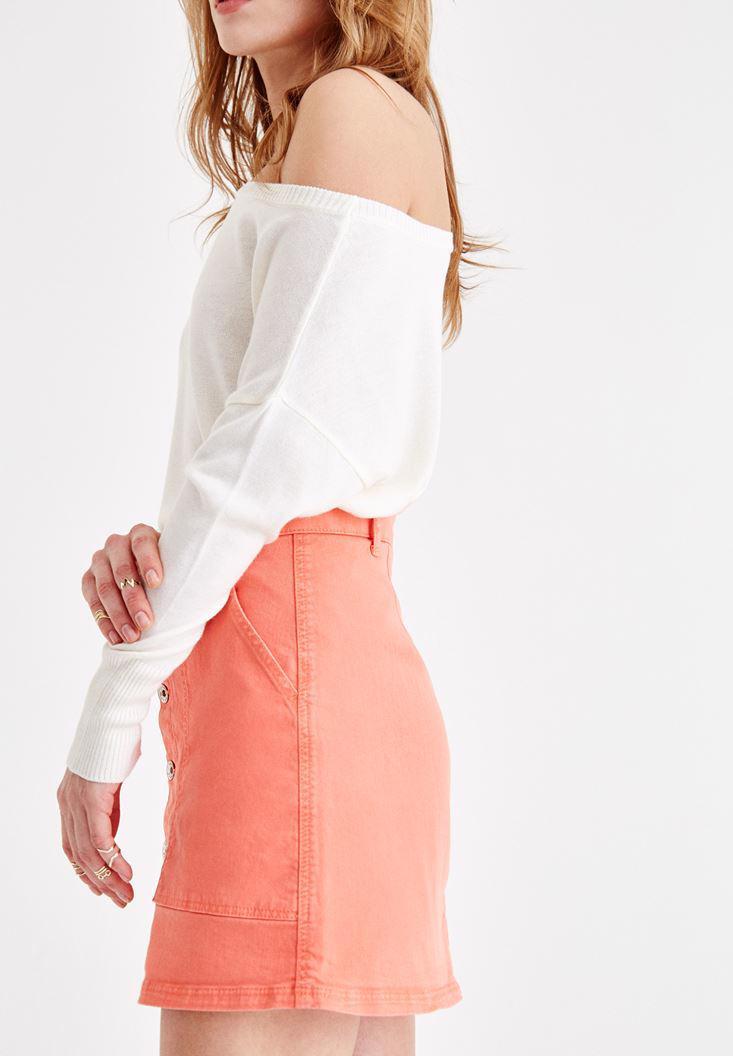 Bayan Turuncu Önü Düğme Detaylı Mini Etek