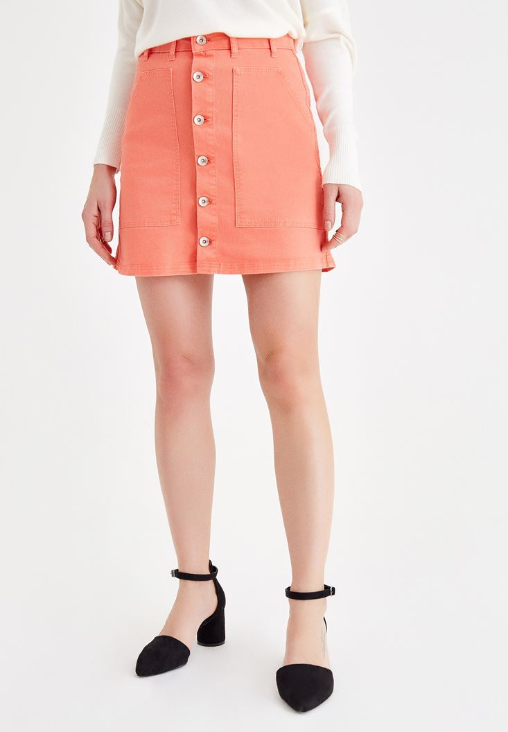Orange Skirt with Button Details