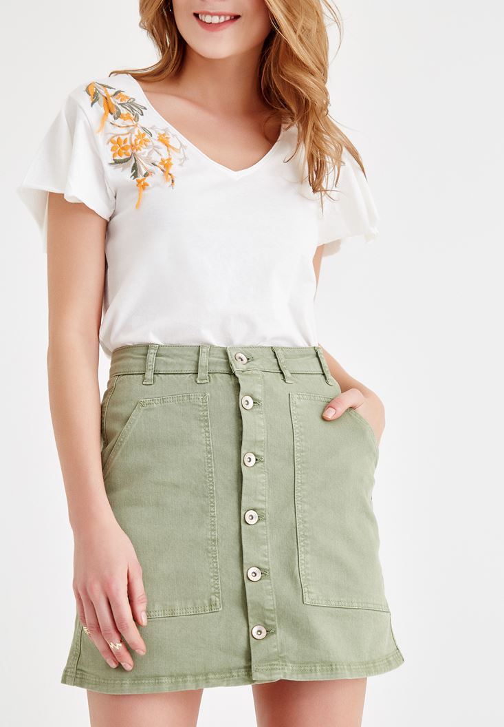 Green Skirt with Button Details