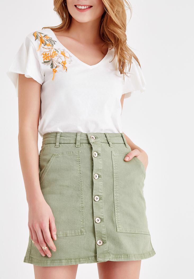 Women Green Skirt with Button Details