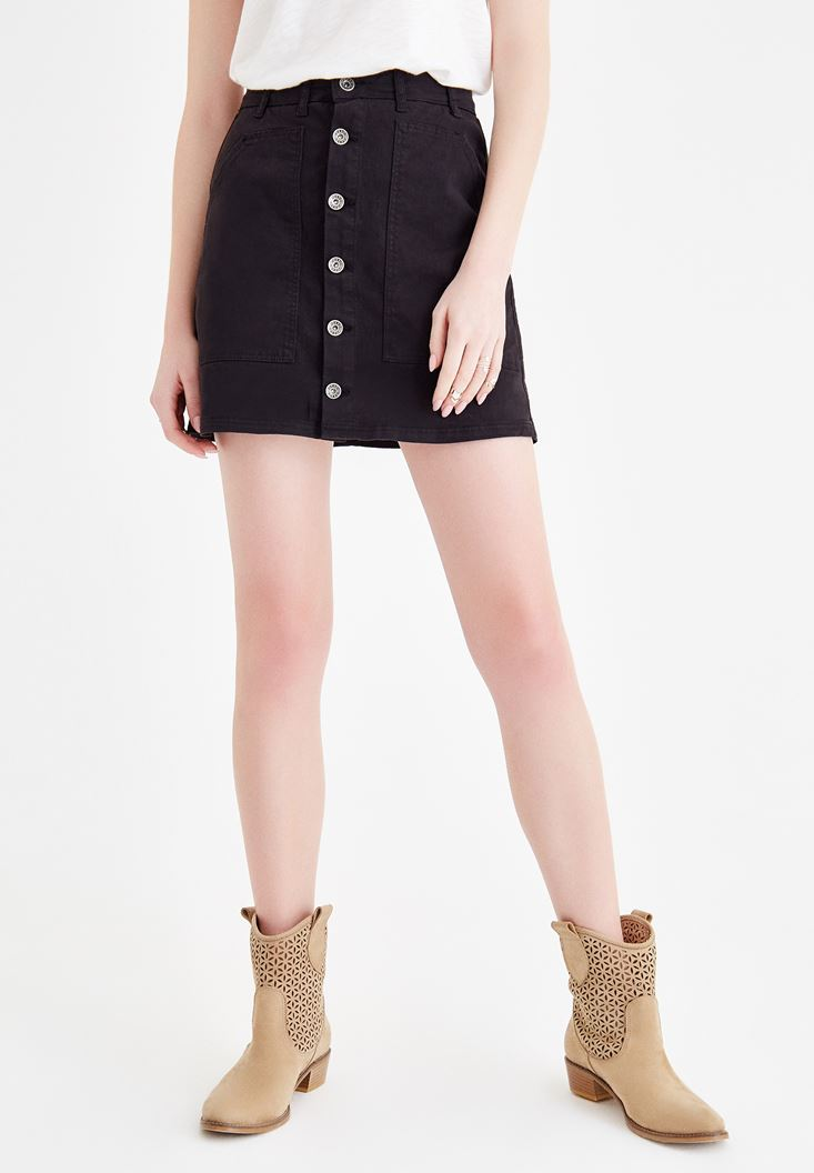 Black Skirt with Button Details