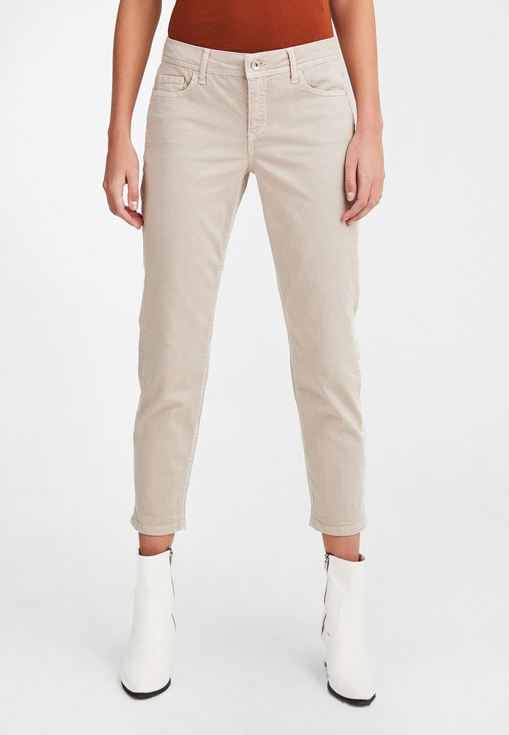 Cream Low Rise Slim Boyfriend Pants