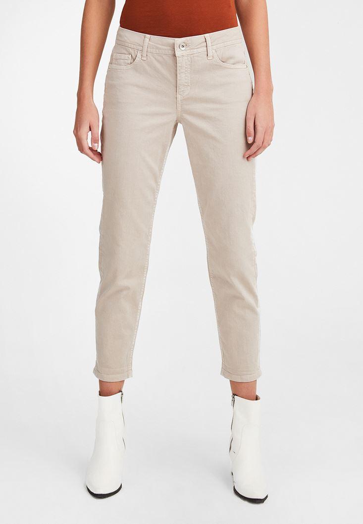 Beyaz Düşük Bel Slim Boyfriend Pantolon
