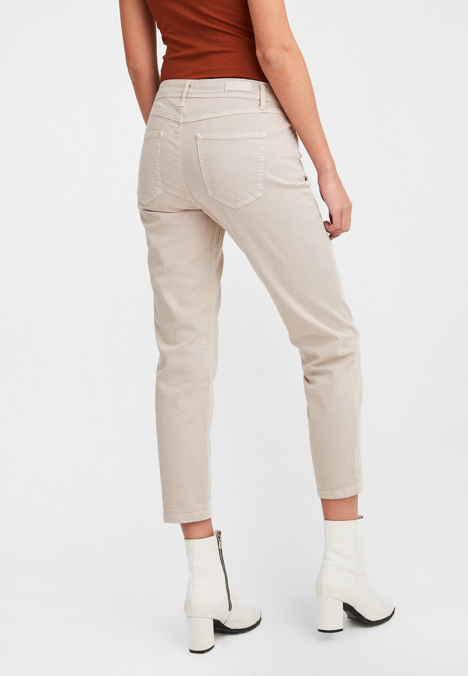 Bayan Krem Düşük Bel Slim Boyfriend Pantolon