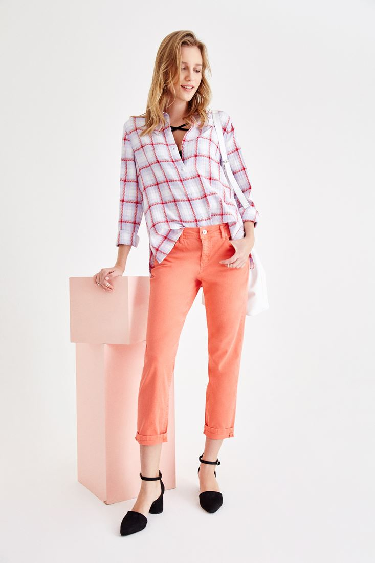Orange Low Rise Slim Boyfriend Pants