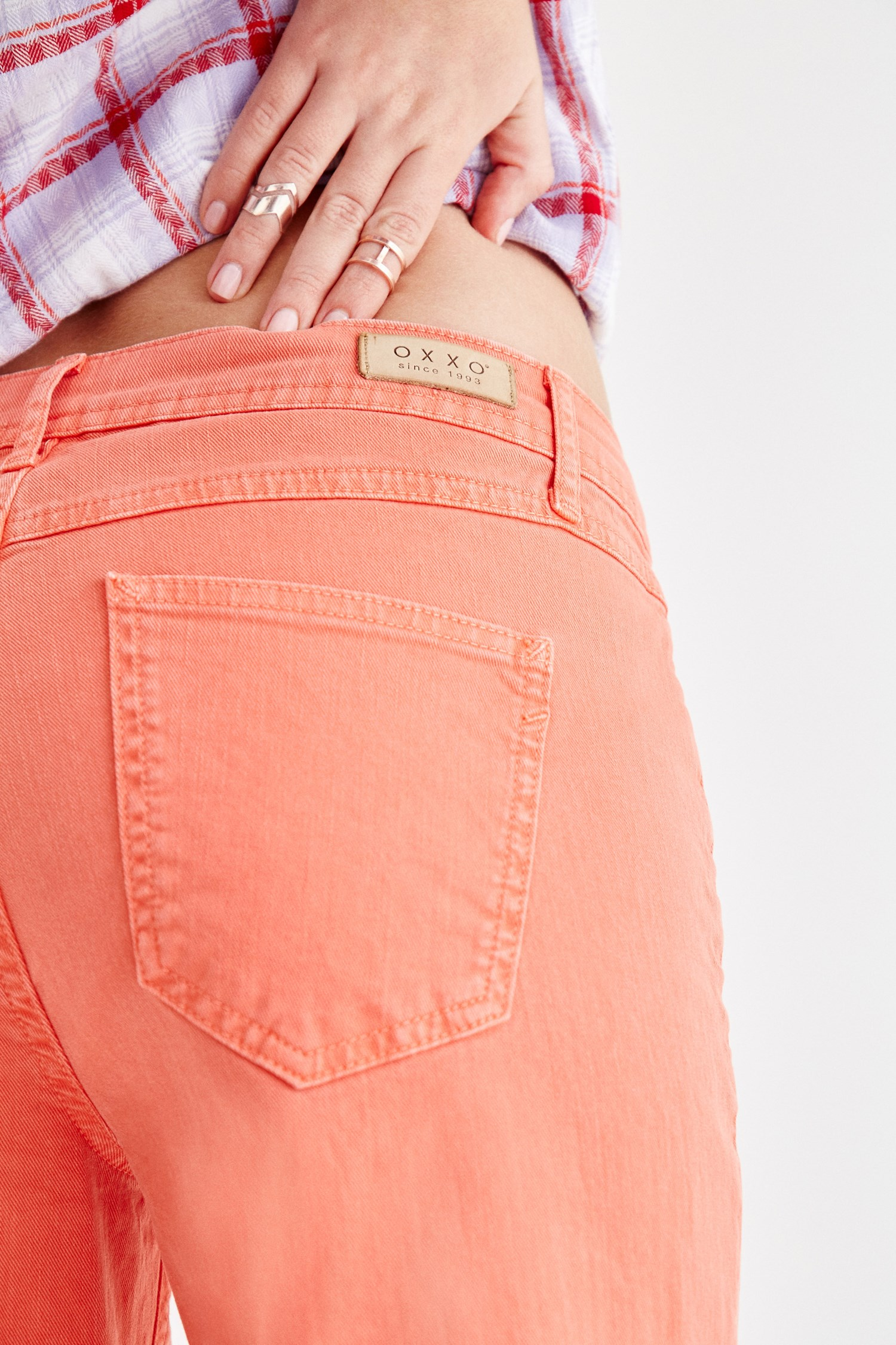 Women Orange Low Rise Slim Boyfriend Pants