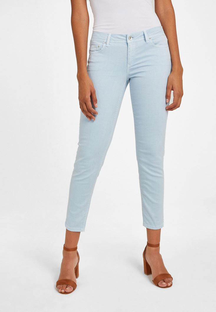 Mavi Düşük Bel Slim Boyfriend Pantolon