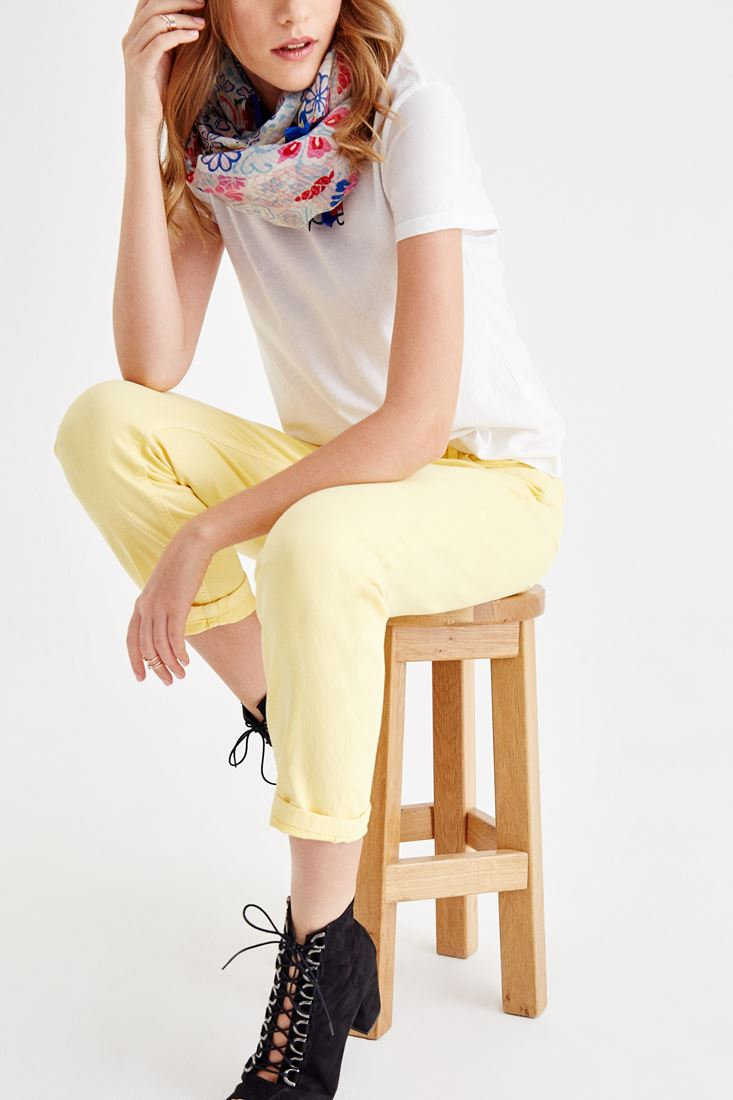 Yellow Low Rise Slim Boyfriend Pants