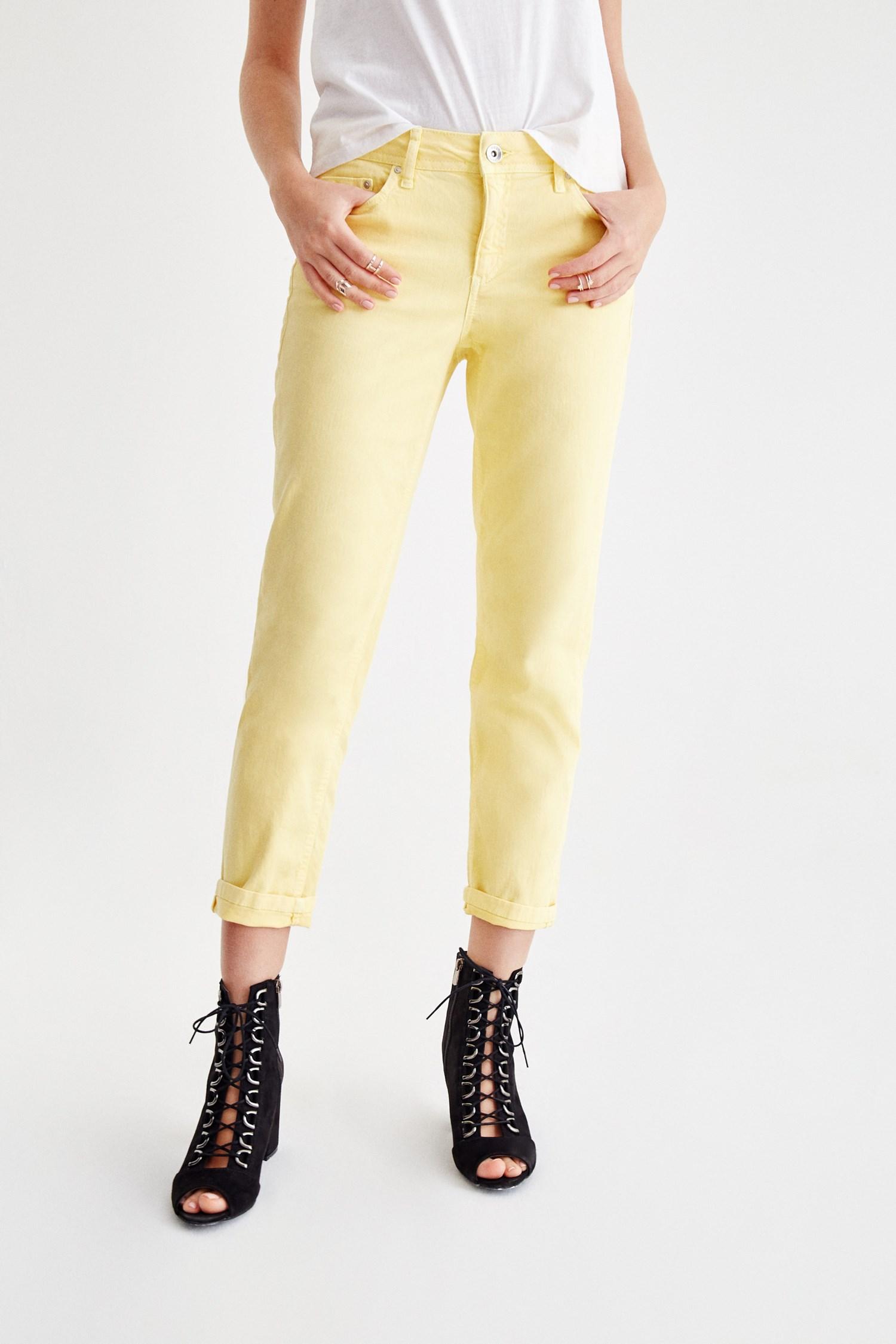 Women Yellow Low Rise Slim Boyfriend Pants