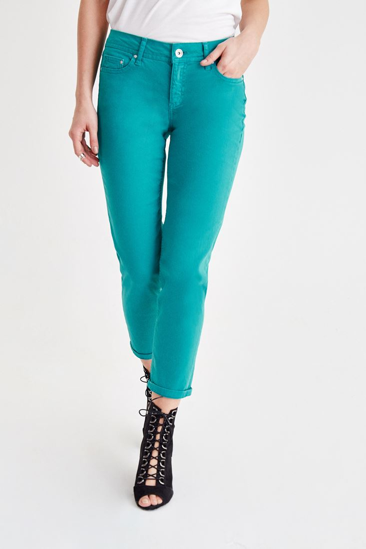 Green Low Rise Slim Boyfriend Pants