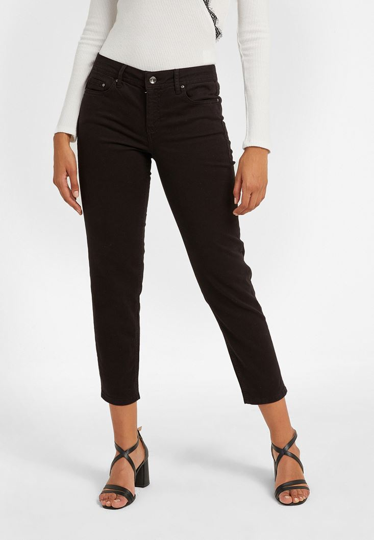 Black Low Rise Slim Boyfriend Pants