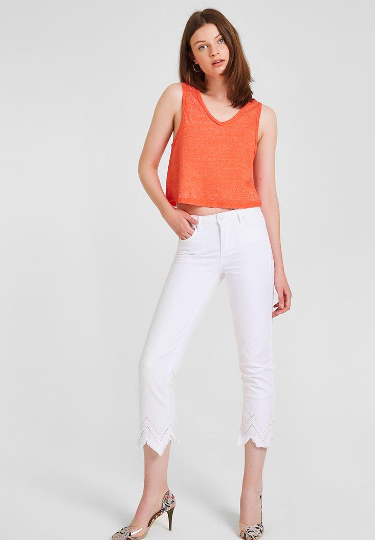 Beyaz Yüksek Bel Paçası Püsküllü Pantolon