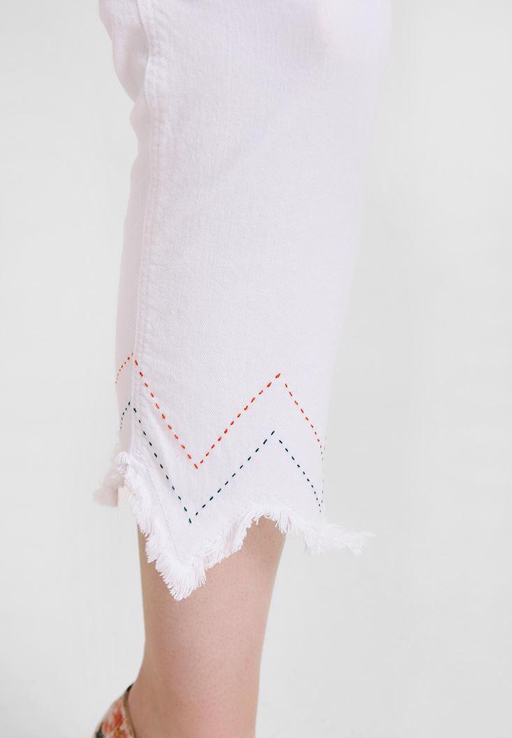 Women White High Rise Pants with Tassel Details