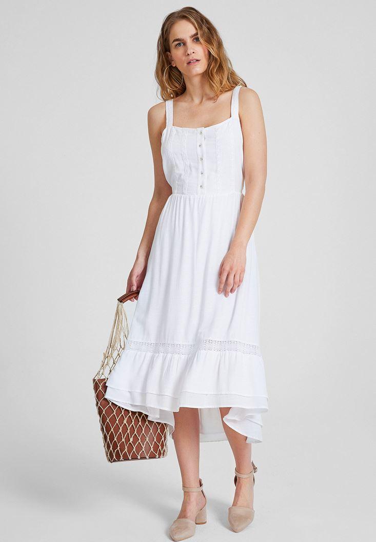 Beyaz Önü Düğmeli Kalın Askılı Elbise