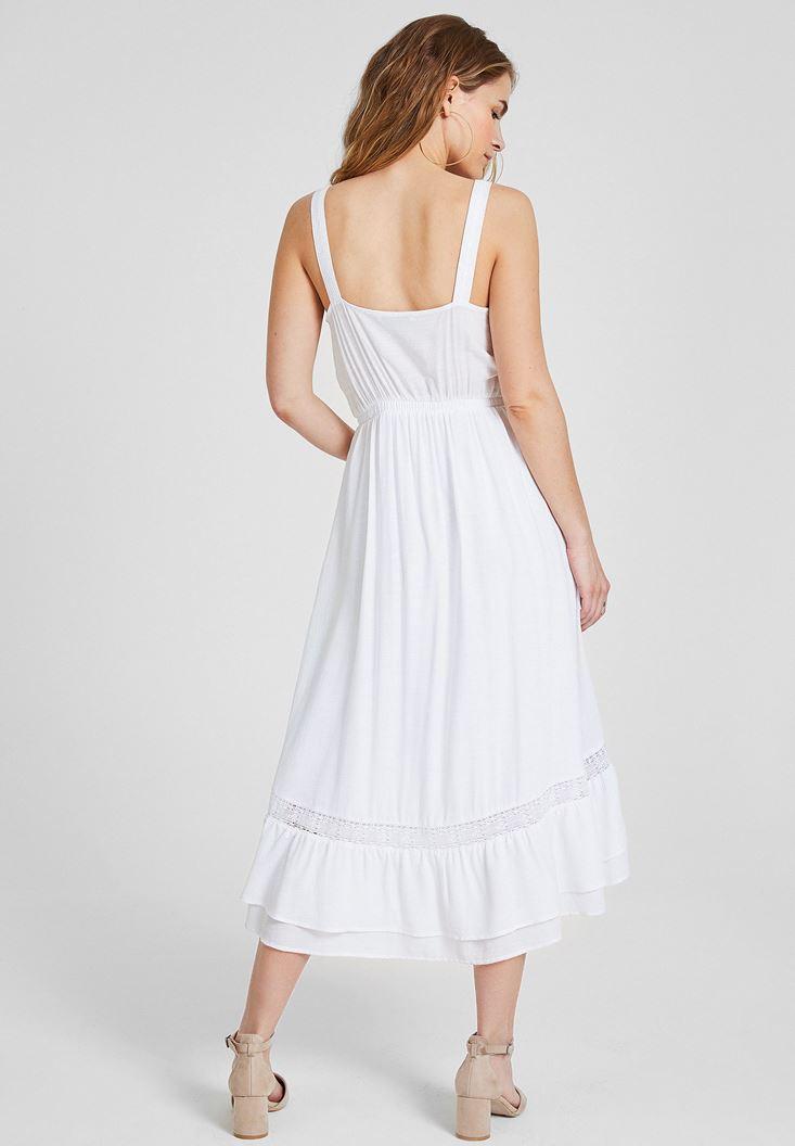 Bayan Beyaz Önü Düğmeli Kalın Askılı Elbise