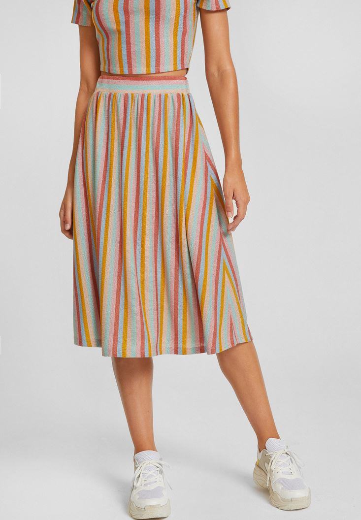 Mixed Striped Skirt with Shiny Details