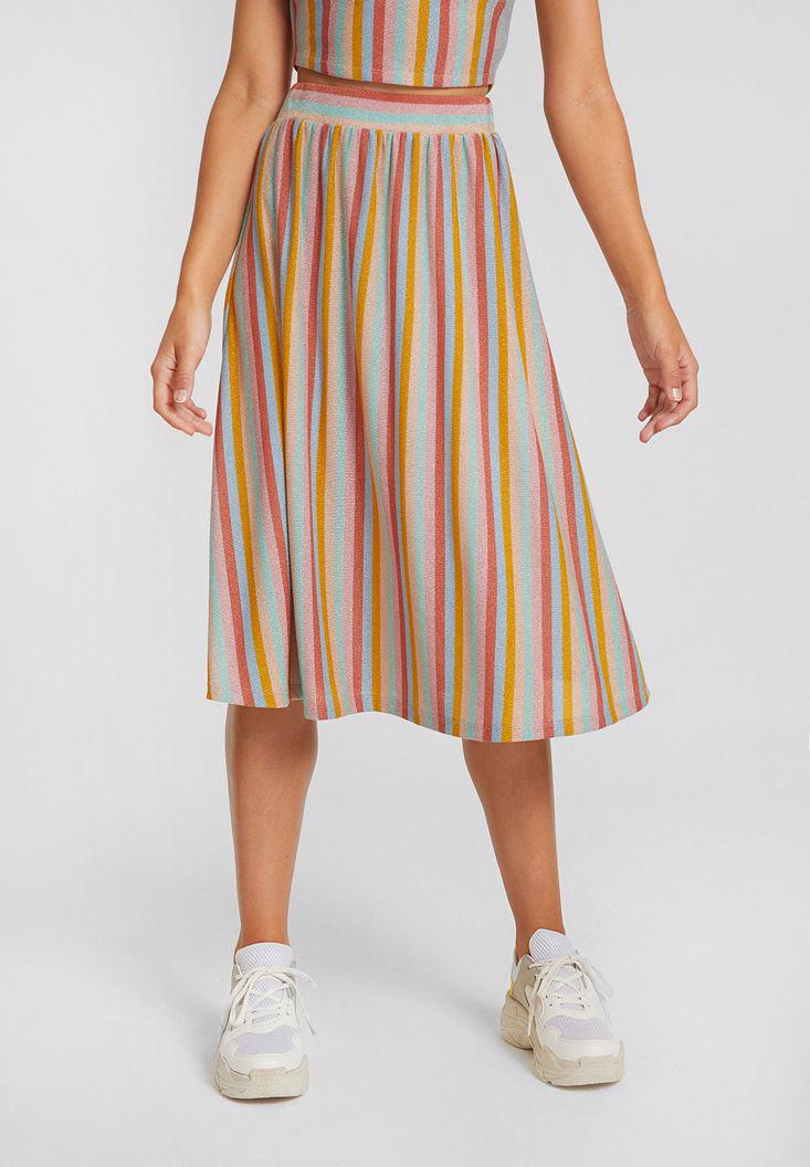 Women Mixed Striped Skirt with Shiny Details