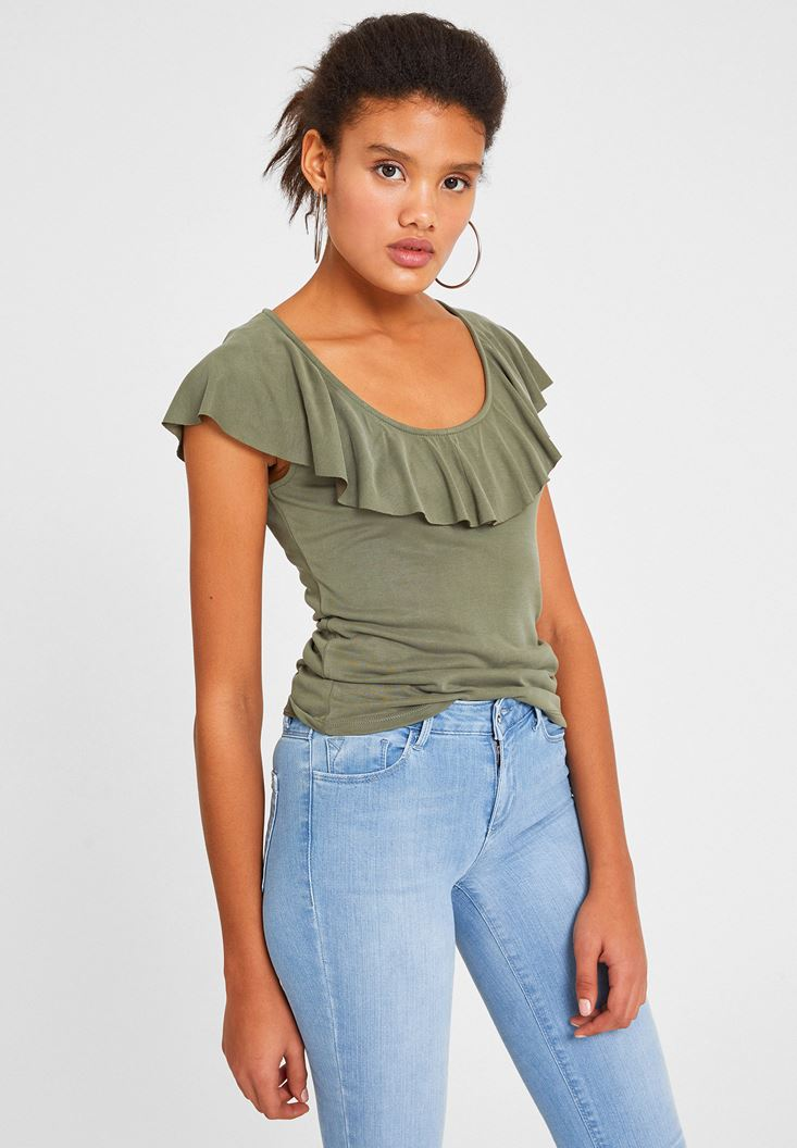 Green Tank with Ruffle Detailed